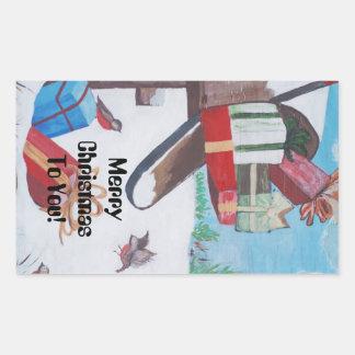 Felices Navidad a usted etiqueta engomada del buz