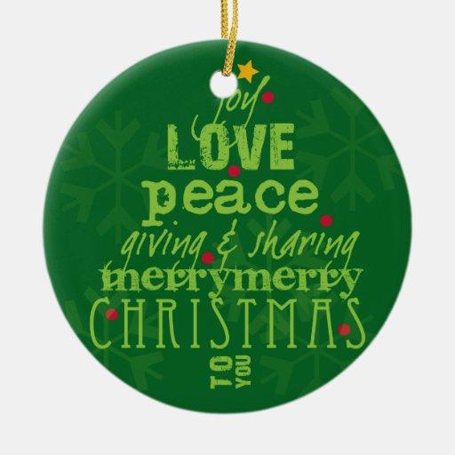 Felices Navidad a usted ornamento del árbol Adorno Navideño Redondo De Cerámica