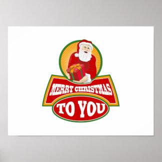 Felices Navidad a usted Papá Noel Posters