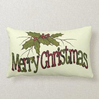 Felices Navidad, acebo, bayas, ramitas: Arte Cojín