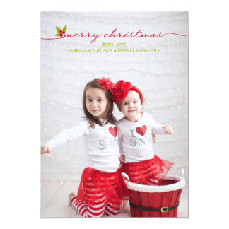 """Felices Navidad acebo y bayas de la foto llena Invitación 5"""" X 7"""""""