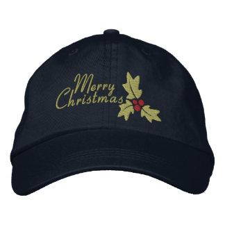 Felices Navidad acebo y bayas Gorra De Béisbol