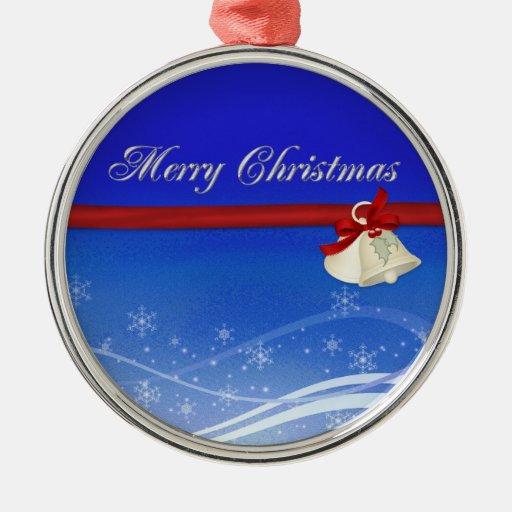 Felices Navidad Adorno Redondo Plateado