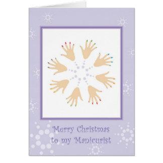 Felices Navidad al manicuro Tarjeta De Felicitación