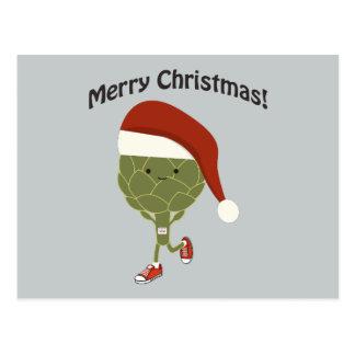 ¡Felices Navidad! Alcachofa corriente de Santa Postal