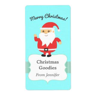 Felices Navidad alegres y de Papá Noel lindo Etiqueta De Envío