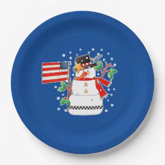 Felices Navidad América. Placas de papel del Plato De Papel De 9 Pulgadas