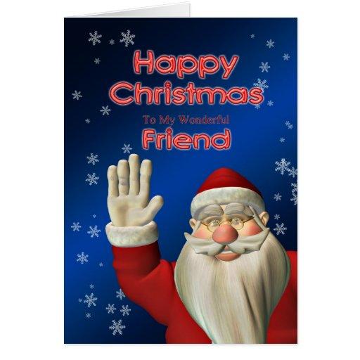 Felices Navidad amigo, el agitar de Santa Tarjeta De Felicitación