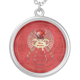 Felices Navidad - ángel del navidad - rojo Collar Plateado