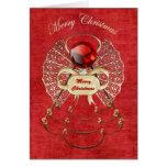 Felices Navidad - ángel del navidad - rojo Tarjetas