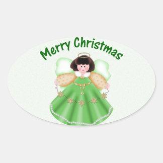 Felices Navidad ángel - verde Calcomanía Oval