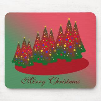 Felices Navidad: Árbol de navidad rojo y verde Tapete De Raton