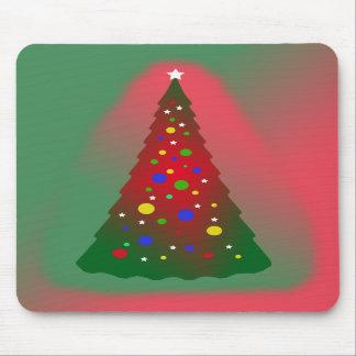 Felices Navidad: Árbol de navidad rojo y verde Tapetes De Raton