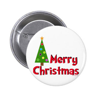 Felices Navidad, árbol moderno Pin Redondo De 2 Pulgadas