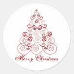 Felices Navidad, árbol rojo de remolinos Pegatina Redonda