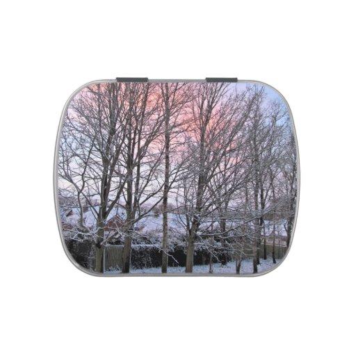 Felices Navidad - árboles Nevado Latas De Caramelos