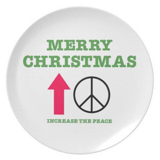 Felices Navidad (aumente la paz) Plato De Cena