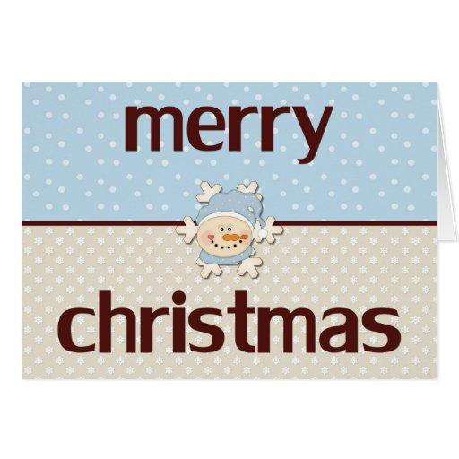 Felices Navidad (azul principal del ~ del muñeco Tarjeta De Felicitación