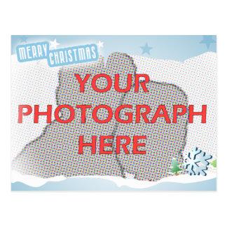 Felices Navidad azules de la foto adaptable Tarjetas Postales