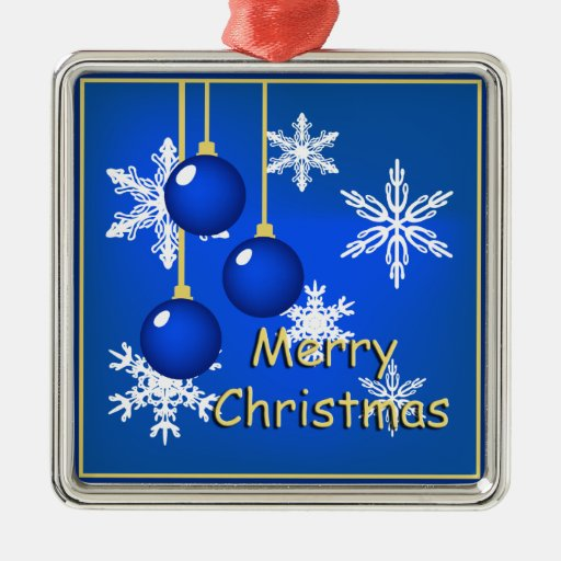 Felices Navidad azules de los ornamentos de los Adorno Navideño Cuadrado De Metal
