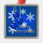 Felices Navidad azules de los ornamentos de los Ornamentos De Reyes
