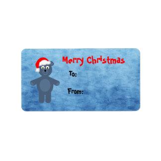 Felices Navidad azules lindas de Santa del oso de  Etiqueta De Dirección