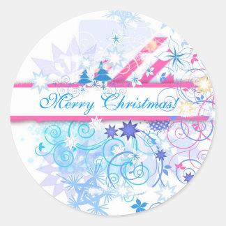 Felices Navidad azules Pegatina Redonda