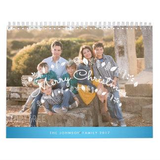 Felices Navidad azules personalizadas del Calendario De Pared