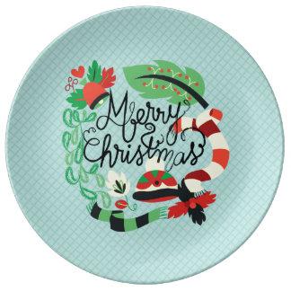 Felices Navidad azules Plato De Cerámica