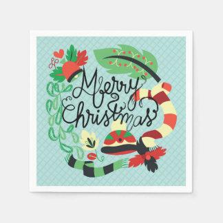 Felices Navidad azules Servilleta De Papel