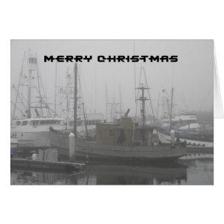 Felices Navidad - barco atracado en San Diego brum Tarjeta