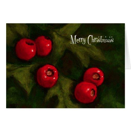 Felices Navidad: Bayas del espino: Pintura Tarjeta De Felicitación