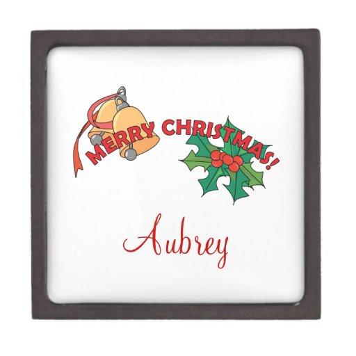 Felices Navidad Belces y acebo Cajas De Recuerdo De Calidad
