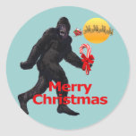 Felices Navidad Bigfoot Pegatina Redonda