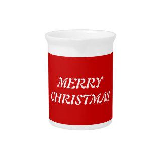 Felices Navidad blancas en fondo rojo Jarra Para Bebida