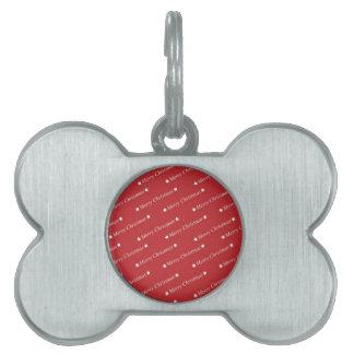 Felices Navidad blancas en fondo rojo Placa De Nombre De Mascota