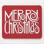 Felices Navidad blancas en Mousepad rojo Alfombrilla De Raton