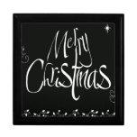 Felices Navidad blancos y negros Cajas De Regalo