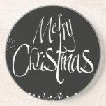 Felices Navidad blancos y negros Posavasos Manualidades