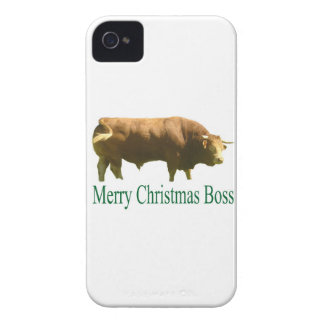 Felices Navidad Boss Lemosín Bull iPhone 4 Protectores