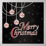 Felices Navidad brillantes del negro, rojas y Posters