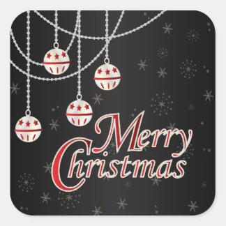 Felices Navidad brillantes Calcomanías Cuadradas Personalizadas