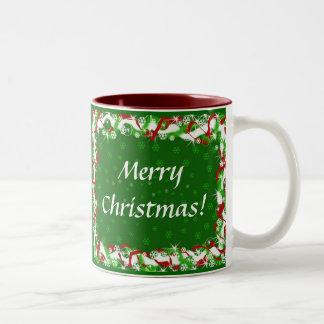 Felices Navidad - buenas fiestas Taza De Dos Tonos