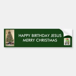 Felices Navidad BumperSticker de Jesús del feliz c Etiqueta De Parachoque