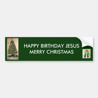 Felices Navidad BumperSticker de Jesús del feliz c Pegatina Para Auto
