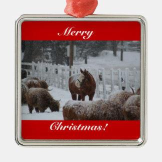 ¡Felices Navidad, caballo de la nieve! ornamento Ornatos