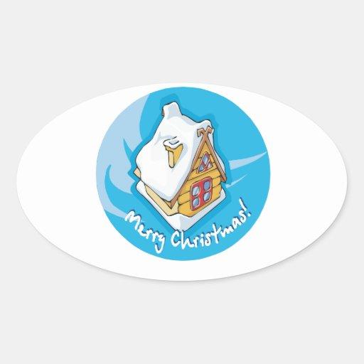 Felices Navidad Calcomania Ovaladas Personalizadas