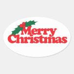 Felices Navidad Calcomanías Ovales Personalizadas