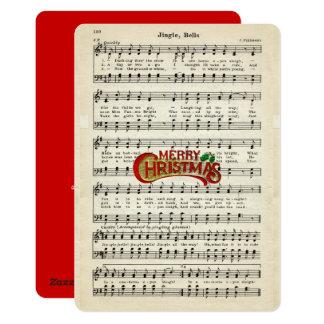"""Felices Navidad, cascabeles, partitura del vintage Invitación 5"""" X 7"""""""