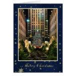 Felices Navidad: Centro de la roca, cielo estrella Tarjetón